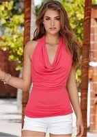 yular yüzsüz bluzlar toptan satış-Yaz Tarzı 2019 Casual Bayan Derin V Boyun Kolsuz Bluz Artı Boyutu Yelek Halter Backless Kırmızı Blusas
