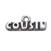 ko großhandel-50 STÜCKE Verkaufen Gut Brief Charms Cousin Tibetischen Silber Überzogene Legierung Für DIY Schmuck Halsketten Armband Zubehör Schmuck