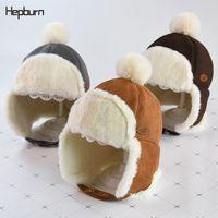chapéus das crianças do bombardeiro venda por atacado-Thicken Ushanka Inverno Unisex marca Hepburn Hat Bomber morna para menino / menina russa cap orelha pele necessário Cap crianças Crianças
