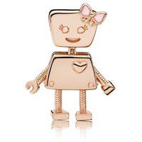 perlen 925 ale großhandel-2019 neueste Ankunft 925 Sterling Silber Pandora Charms Robot Rose Gold Glänzend Überzogene S Ale Für Damen DIY Armbänder Perlen Schönheit Schmuck