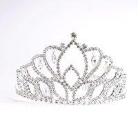 einfache tiara krone großhandel-Mädchen Glänzende Strass Party Kopfschmuck Braut Hochzeit Zarte Haarbänder Haarschmuck Frauen Einfache Mode Tiara Crown