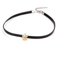 ingrosso disegno di cuoio della collana nera-collana girocollo da donna semplice design con collane in oro corta a cinque stelle in pelle nera