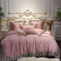 Wholesale egyptian beds resale online - Luxury Pink Blue Wine Red Egyptian Cotton Bedding Set Queen King Lace Duvet Cover Bed sheet Linen Pillowcases Decorative Pillow