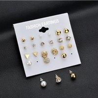 conjuntos de joyas de imitación al por mayor-Conjunto de aretes de joyería de moda de Corea 12 pares de aretes de circonio de imitación cuadrados pendientes de diamante corazón de melocotón