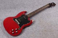 feste körpersignaturgitarre groihandel-Fabrik Gitarre P90 Pickup Weinrot Mahagoni Korpus und Hals solide Unterschrift Gitarre Freies Verschiffen