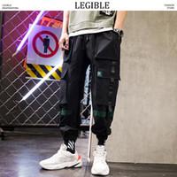 kemerli pantolonlar toptan satış-LEGIBLE Tasarımcı Kemer Kargo Pantolon Erkekler Erkek Streetwear Joggers Pantolon Erkek Hip Hop Cepler Sweatpants 3XL Siyah Giyim
