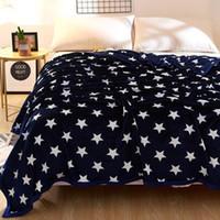 hojas de tela de lana al por mayor-Svetanya blue Star Throw Blanket Fleece Hoja de tela Colcha Multi-Tamaño