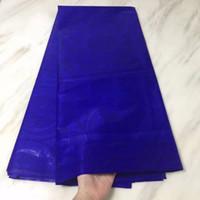 modische afrikanische kleider großhandel-5 Yards / pc Modische königsblau bazin spitze stoff schönes muster afrikanischen brokat baumwollgewebe für party kleid BZ26-1