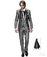 damadın smokinleri açık gri toptan satış-Yeni Sıcak Satış Açık gri Bir düğme Tepe Yaka Damat Smokin Groomsmen Erkekler Düğün Blazer Balo Giyim Suits (Ceket + Pantolon + Yelek + Kravat) XZ24