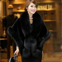 mink kadın ceketleri toptan satış-Taklit kürk kadın uzun bölüm vizon saç taklit tilki kürk yaka şal yeni Kore versiyonu