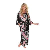 fleurs de kimono noir achat en gros de-Brand New Black Femmes Satin Kimono Robes Long Sexy Chemise De Nuit Vintage Imprimé Robe De Nuit Fleur Taille S M L XL X XL Xxxl A-045 S703