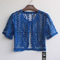 calções embelezados em renda venda por atacado-Verão Bordado Malha Crochet Lace Embellished Cape Manga Curta V Collar Mulheres Cardigan Curto Femme Bolero Casaco