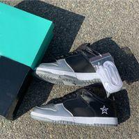 mes casual shoes venda por atacado-Hot Ins SB Dunk Supre Me Moda Luxo Designer Casual Shoes preto vestido de prata Sneakers Loafers Plataforma tênis de corrida
