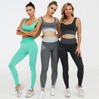 schnelle trainingsanzüge groihandel-Sommer Fitness Wear Mädchen gestrickte Ärmel T-Shirt Heben Sie Hüften Hosen Damen Yoga Outfits Dame Sport Voll-festen Yoga-Hosen-Klage
