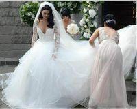 Wholesale wedding plus tulle dresses for sale - Group buy Elegant V Neck Wedding Dresses Lace Long Sleeves Tulle Tiers Skirt Sweep Train A Line Plus Size Bridal Gowns vestidos de noiva