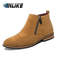 ingrosso doppio piede-INLIKE Affari Mens Boots invernali caviglia stivali da uomo Scarpe in pelle a doppia zip sul lato