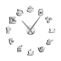 diseños de cocina de pared de café al por mayor-Cafe Diy Reloj de pared grande Reloj de pared gigante sin marco Diseño moderno Café Taza de café Decoración de grano de café Reloj de cocina #