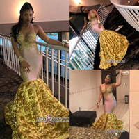 Wholesale pictures flowers white roses for sale - Group buy Sexy D Rose Flowers Mermaid Prom Dress Gold Appliqued Long Sleeves Evening Dresses Black Girl Plus Size Formal Party Pageant Gown