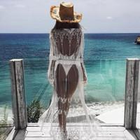parte superior do biquini do laço do crochet venda por atacado-2019 Womens Lace Verão Crochet Bikini Cover Up Imprimir Praia Top Caidigan Praia Swimsuit Cover Up Beach Dress