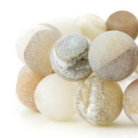 agate druzy quartz toptan satış-Yuvarlak Druzy Akik Kuvars Kristal Doğal Renkler Taş Gevşek Boncuk fit Bilezik Küpe Kolye 6 8 10 12mm