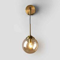 Bedroom Wall Lamp Magic Bean Bedsides Light Fixture Modern Wall Suspension Light Amber Smoke Grey Lampshade Home Lighting