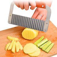 Wholesale vegetable slicers resale online - Stainless Steel Potato Wavy Edged Knife Chip Slicer Vegetable Fruit Crinkle Wavy Slicer Knife Kitchen Tools yq00229