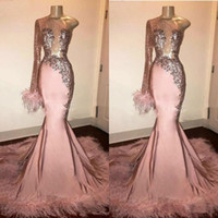 Wholesale glitters formal evening dress for sale - Group buy Glitter Sequin Prom Dress Long Sleeve Mermaid Pink Black Girl with Feathers Train One Shoulder African Formal Evening Gowns vestido