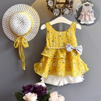 Wholesale floral bow shorts children resale online - Girls Clothes Sets Floral Girl Dress Shorts Set Chiffon Bows Children Outfits Summer Fashion Kids Clothing Colors YW3072