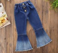 tasarım çanları toptan satış-INS kız giyim pantolon Denim çan dipli pantolon tasarım kız bahar pantolon düşmek