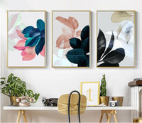 Wholesale colorful wall art paintings resale online - Colorful Leaves Wall Pictures for Living Room Home Decoration Nordic Plants Poster Wall Art Canvas Painting Posters and Prints