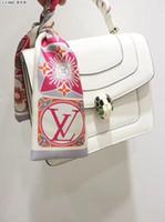 Wholesale small scarfs resale online - Fashion V Designer scarf ladies slim narrow bag handle silk scarf double sided printed twill satin brand small ribbon