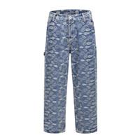 Wholesale wide leg men s jeans for sale – denim Men s Couple Wide Leg Jeans Pants Hip Hop Harajuku West Vintage Cashew Flower Old Washed Streetwear Jeans Tactical Pants