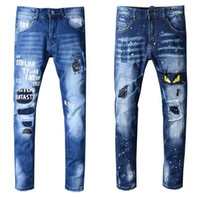 Wholesale motorcycles for sale – custom Brand New Mens Jeans Distressed Ripped Biker Jeans Slim Fit Motorcycle Biker Denim Jeans Fashion Designer Pants