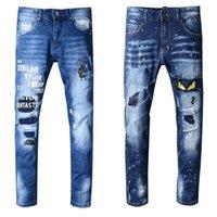 джинсовые брюки оптовых-Brand New мужские джинсы Проблемные Ripped Байкер джинсы Slim Fit Мотоцикл Байкер джинсы 2019 Модельер штаны
