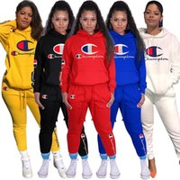 Wholesale woven clothes for sale - Group buy Women Sport Tracksuit Champion Pullover Hooded Pants Two Piece Woman Set Outfit Casual Womens Sweat Suits Sweatsuits Clothes Clothing