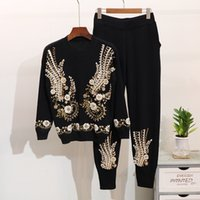 Wholesale two piece sequin set resale online - Winter New Fashion Women Knitted Sets Beaded sequin embroidery long sleeved sweater Harlan feet pants suit women