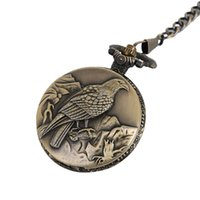 antik kadın saatleri toptan satış-Antik Kartal Tasarım Fob Kuvars Pocket saat Kolye Zincir Kolye Hediye Ile Erkek Kadın Hediye için Anime Cep İzle