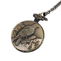 antike bronze halskettenentwürfe großhandel-Antike Adler Design Fob Quarz Taschenuhr mit Halskette Kette Anhänger Geschenk für männlich-weibliche Geschenk Anime Taschenuhr