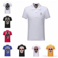 горячий человек моды p оптовых-Лето 2019 мода мужская одежда горячая дрель человеческий череп с коротким рукавом поло мужские дизайнерские футболки женские топы 2 P