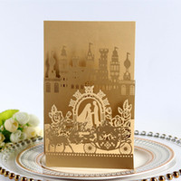 Wholesale gold wedding carriage resale online - New Wedding Invitation Cards Castle Laser Cut Hollow Wedding Favors Party Cards Bride And Bridegroom Carriage Hot Selling
