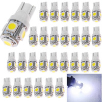 bague lumineuse led jaune achat en gros de-Super Bright White T10 194 168 2825 W5W 5050 5-SMD LED ampoule de voiture dôme intérieur coffre tableau de bord ampoule plaque d'immatriculation 12V 6000KFree Expédition