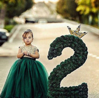 bilder mädchen zurück großhandel-2019 Echt Bild Tüllspitze Blumen-Mädchenkleider Juwel Ausschnitt Little Mädchen Ballkleider Lace Up Zurück langer Kindergeburtstag Prinzessin Partei-Kleider