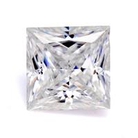 pedrería blanca taza al por mayor-Fahion en joyería de alta calidad encanto brillante princesa blanca corte 9X9mm moissanite diamante para la joyería