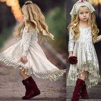 adrette abendkleider großhandel-Herbst Frühling Kind Mädchen Prinzessin Samt Quasten Kleid Kinder Kleidung Abendkleid Kinder Langarm Party Kleider Kostüm Kind Kleidung