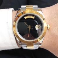 две тональные часы оптовых-Новейшее стильное автоматическое движение Xiabisour Date Just Men Watch Черный циферблат Two Tone 316 нержавеющая полоса Мужской Wat