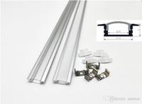 cubierta de perfil de tira de led al por mayor-Perfil de aluminio led de 1 m para barra de luz led, canal de aluminio de tira de led, carcasa de aluminio impermeable cubierta transparente lechosa CRESTECH
