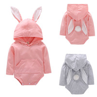 Wholesale boutique easter clothing online - Easter Baby girls boys Rabbit Rompers infant Hooded Bunny Ear Jumpsuits summer fashion Boutique kids Climbing clothes C5941
