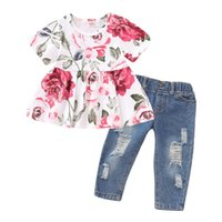 Wholesale toddlers short pant suits for sale - Group buy Baby Girl Clothes Set Floral Tops Hole Denim Pants Jeans Toddler Kids Clothing Sets Children Outfits Suit for Girls Boutique Spring Summer
