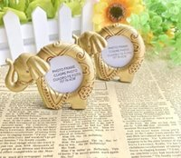 Wholesale baby shower favors frame resale online - Baby Shower Favors Lucky Golden Elephant Photo Frame Gold Picture Frames Birthday Party Giveaway Gift