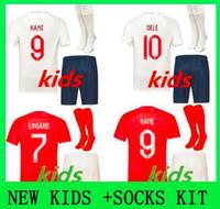 Wholesale england soccer kit for sale - Group buy NEW kids kit England Soccer Jersey KANE STURRIDGE STERLING HENDERSON VARDY youth boys Football jersey CALCIO Shirt